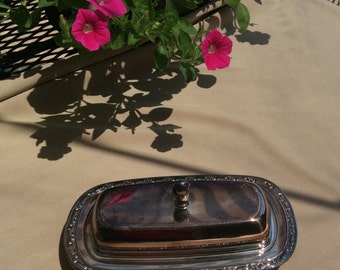 Vintage Oneida Silversmith, Silver Plated 3 pc Butter Dish Set