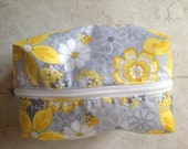 Yellow Summer Flowers and Stripes Cosmetic Bag