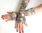 Gold Tulips Wedding fingerless gloves with silver lace - arm warmers, lace gloves, cuffs, Goth, Victorian, grey, bridal, Eco friendly flower