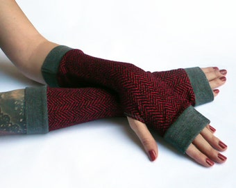 Red Winter  Arm Warmers, Fingerless Gloves with grey edges - Very Soft Red  Gloves , Hand Warmers , Cuffs , Victoriian , Goth , Cotton
