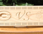 Packer VS Viking Cribbage Board Made From Solid Black Ash