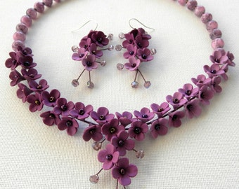 Violet Jewelry Set Ombre Jewelry Flower Jewelry Necklace Earrings Romantic Jewelry Floral Jewelry Wedding Gift Statement Gift For Her
