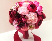 Red Peony and Ranunculus Bouquet, Bridal Bouquet, Wedding Bouquet, bridesmaid bouquet, Red Bouquet