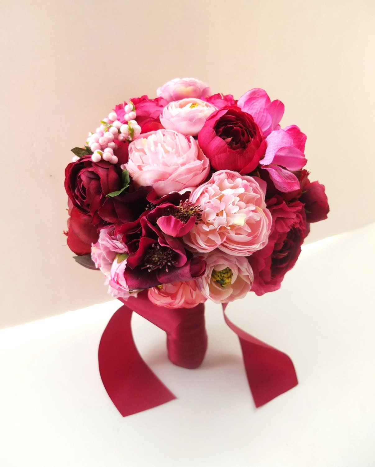 Red Peony And Ranunculus Bouquet Bridal Bouquet Wedding