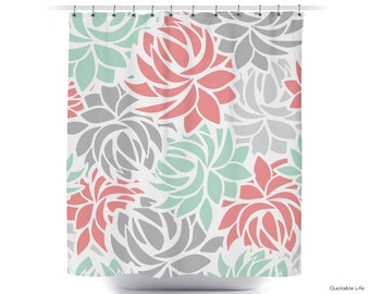 Petals Flowers Mint Coral And Grey Choose Your