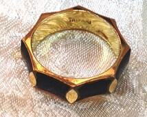 Vintage Trifari Ring Gold w/ Black Enamel Octagonal Design