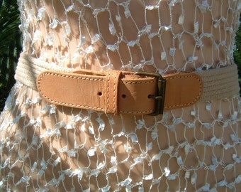 1980s Antique Brass color Leather and Wheat color Cotton with Brass Buckle Belt Size Small
