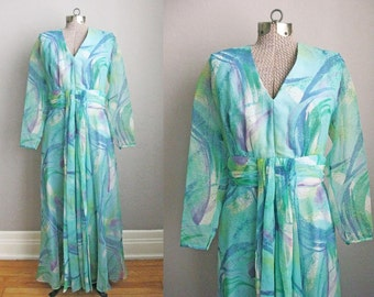 1960s Vintage Maxi Dress Gown Blue Green Print 60s Dress Chiffon / Large
