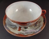 Rare Collectible Ultra-thin Japanese Hand Painted Bone China Teacup and Saucer Circa 1960's