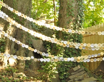 Wedding Garland Paper Flowers White and Ivory 40 feet