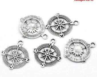 5 Pieces Antique Silver Compass Charms
