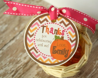 Pumpkin Girl Favor Tags OR Stickers - Set of 12