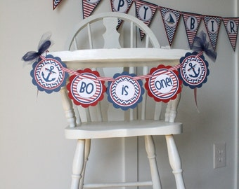 Nautical Boy High Chair Banner, Nautical Anchors First or Second Birthday Mini Banner