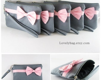 SUPER SALE - Set of 6 Gray with Little Light Pink Bow Clutches - Bridal Clutches, Bridesmaid Wristlet, Wedding Clutch - Made To Order