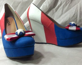 Captain America Inspired Handpainted Wedge Heels