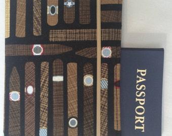 Laminated Passport Wallet - Cigars- Black, Brown, Grey- Elastic Closure- Plastic Card slot and 2 Card Pockets