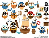 Pirate owl clip art for Personal and Commercial use - INSTANT DOWNLOAD