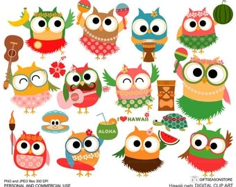 Hawaii owls Digital clip art for Personal and Commercial use - INSTANT DOWNLOAD