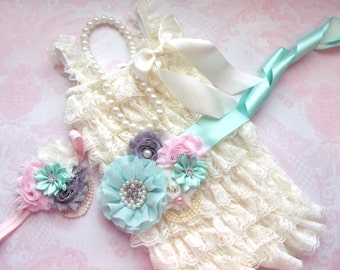 4 pcs Ivory  Lace Petti Romper, Headband,petti rompers,baby girls petti Rompers,Photography props,Baby Rompers,Ready to Ship,Fall