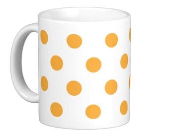 Orange Polka Dot Coffee Mug, hs0189