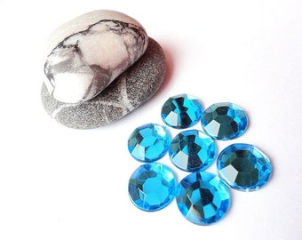 10 mm Ocean Blue  Round Faceted Acrylic Flatback Rhinestones, Bright Blue Cabochons, Supplies, Set of 30 pcs.