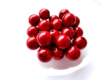 10pcs Red Miracle Beads 14mm Acrylic Beads Bright Red Round Beads Jewelry Making Supplies