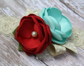 Audrey Headband or Hairclip - Red and Mint Shabby Chic