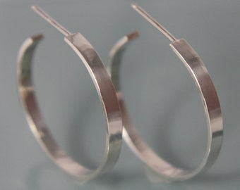 "Silver  Hoop Perfect Recycled Sterling Silver Flat 1""  Open Back and Post Shiny Polished Finish"