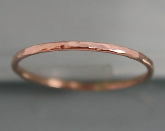 Rose Gold Ring 14k SOLID Rose Gold Thin 1mm Wedding Stacking Band Ring Hammered Spacer Faceted Shiny Finish Eco-friendly Recycled Gold