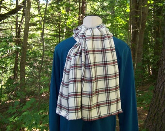 Flannel Scarf - Men's Winter Scarf,  Men's Scarf, Scarf for men, Scarves,Red White Black Plaid