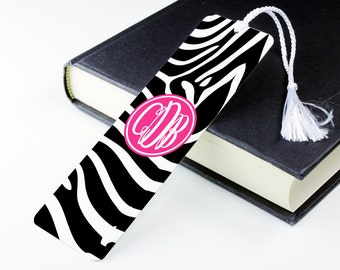 Zebra Print Bookmark – personalised metal bookmark - personalized unique bookmark - literary gift - teacher gift - book lover gift - p15