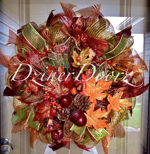 Fall Sale Fall Leaves Deco Mesh Wreath By Dzinerdoorz On Etsy