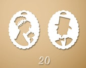 Vintage Cameo Charms - Set of 20 paper charms...Approx. 3/4 in ( 2cm )