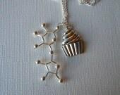 Biolojewelry - Cupcake & Sugar Molecule Necklace