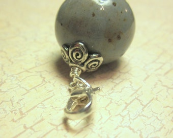 Memorial Round Bead Charm - Custom Keepsake Stoneware Pottery Pet Cremains Charm - For Braclet or Keychain