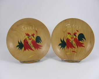 2 Wood Snack Bowls with Hand Painted Roosters, Chicken Wall Plaques, Wooden Serving Bowls