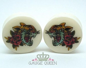 "Tattoo Plugs / Gauges. 'GRRR' Tiger. 2g / 6.5mm, 0g /8mm, 00g /10mm, 1/2"" /12.5mm, 9/16"" /14mm, 5/8"" /16mm, 3/4"" /19mm, 7/8"" /22mm, 1"" /25mm"