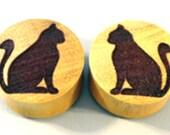 "Custom Handmade Organic ""Cat"" Wood Plugs  -- You choose wood type/color and size 0g- 30mm"
