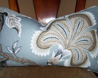 F. Schumacher Hothouse Flowers Mineral 12 x 20 Decorative Designer Throw Lumbar pillow corded