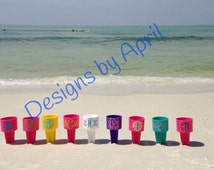 Monogram Beach Spike - Wedding Party- Personalizied Spike