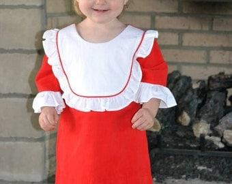 Girls Monogrammed Ruffle Bib Dress