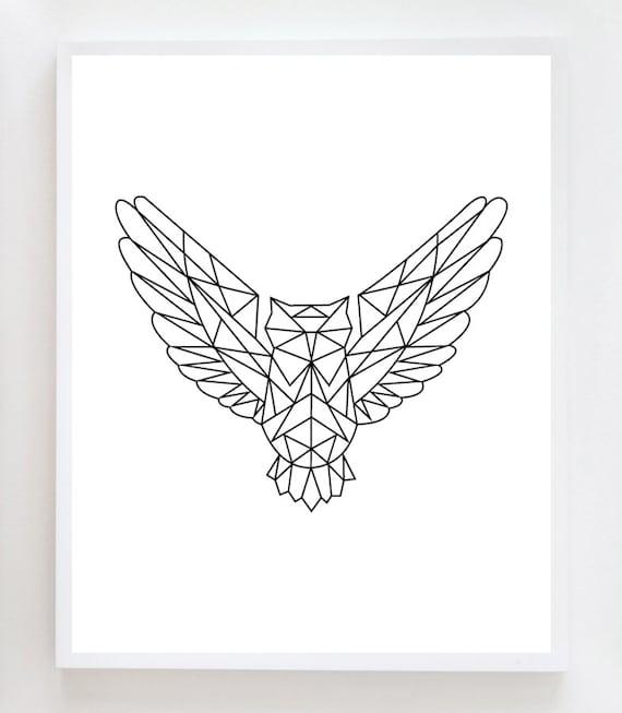 Line Art Design Geometry : Articles similaires à impression d art mur hibou