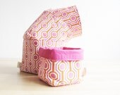 Pink Fabric Bins family of 4 sold separately, various sizes, fabric bin storage, small fabric basket, reversible design, drawer organizer
