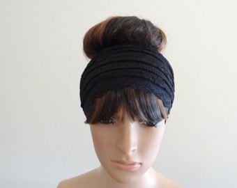 Black Lace Headband. Black Head Wrap