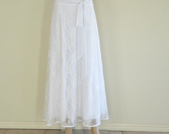 White Lace Maxi Skirt. Lace Long Skirt. Long Bridesmaid Skirt. White Evening Skirt.