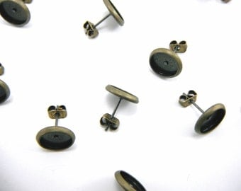 20 Pcs Earring Posts With Butterfly Earnuts Bronze Color (8mm Tray)- Size: 10mm Diameter, 8mm Inner Tray Diameter, Pin 1mm EAR011