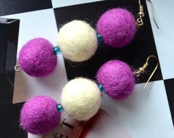 Three Felt Balls Earrings