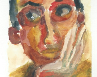 Original Watercolor Portrait Painting/ Illustration- Summer's Thinking