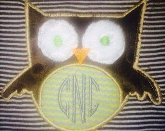 Owl shirt/onesie with monogram