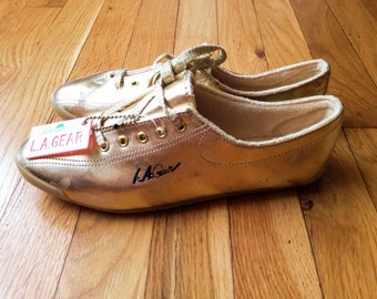 LA Gear Size 7 Gold Sneakers Deadstock 1990s